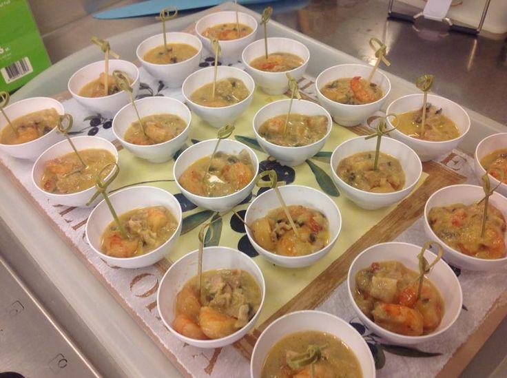 scampi's in een leffe sausje met witloof, champignon en shalottjes.