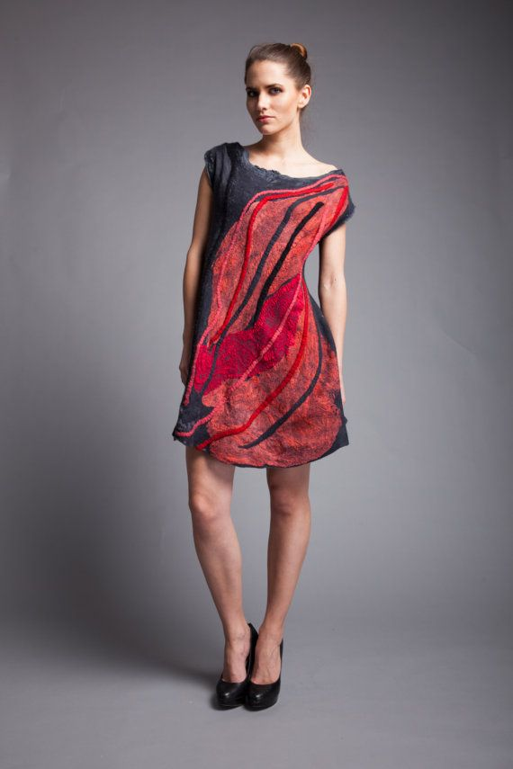 Unique dress merino wool red and gray wearable art FREE by Veuna