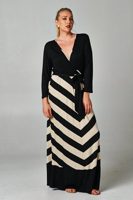 Chevron print maxi dress plus size