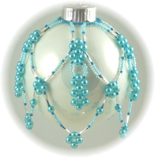 beaded+christmas+ornaments+free+patterns | Cascading Pearls Ornament Cover Kit Blues