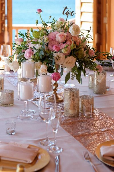 Blush Rose Gold Sequin Table Runners Lisa Ryan Villa Estrella Mar Best Wedding
