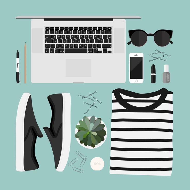 http://www.laurenschroer.com/flat-lay-illustrations/