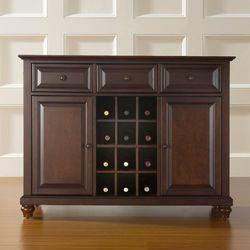Crosley Furniture Cambridge Buffet ServerSideboard Cabinet with Wine  Storage Vintage Mahogany