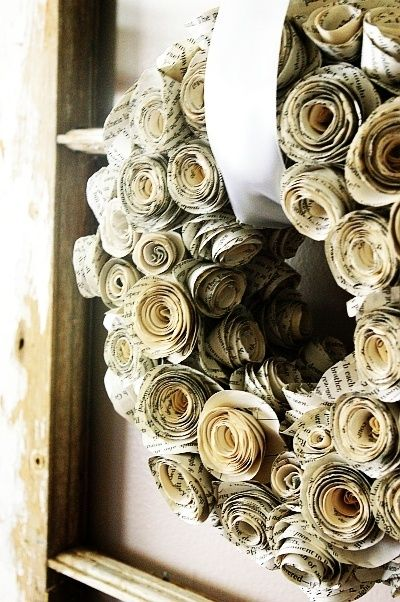 book page rosettes wreath. against a dark wall or door - gorgeous!