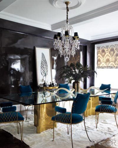 BRASS-BASED DINING TABLE    In Jackie Astier's Manhattan apartment, a 19th-century French chandelier hangs above a dining table made from a pair of '70s brass bases found on eBay; the '40s French dining chairs are upholstered in a Lelièvre velvet, the shades are of a Lee Jofa silk, and the rug is by the Rug Company. The walls were painted with 10 coats of custom lacquer.: Dining Rooms,  Eating House, Elle Decor,  Eating Places, Interiors, Dining Chairs, Elledecor, Dining Tables, Black Wall
