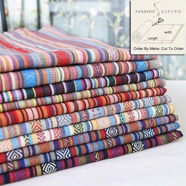 150 cm Szerokości Czeski Boho Rainbow Paski Tkaniny Tapicerskie Tkaniny Tkaniny Wystrój Domu Mody Rzemiosło
