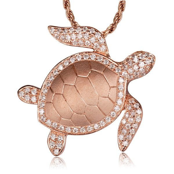 "Brand new rose gold on solid 925 sterling silver Hawaiian sea turtle honu slide pendant CZ - Pendant size: 24mm (approx. 15/16"") wide and 25mm (approx. 1"") long. - Stone: clear Cubic Zirconia (CZ). -"