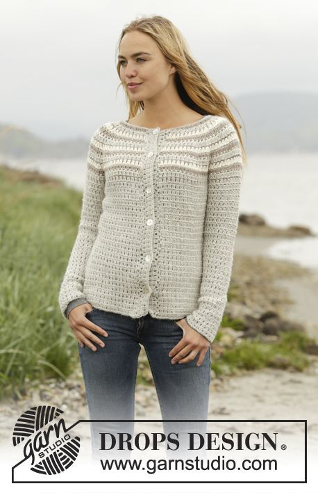 Crochet DROPS jacket with stripes, worked top down in Puna. Size: S - XXXL. Free pattern by DROPS Design.