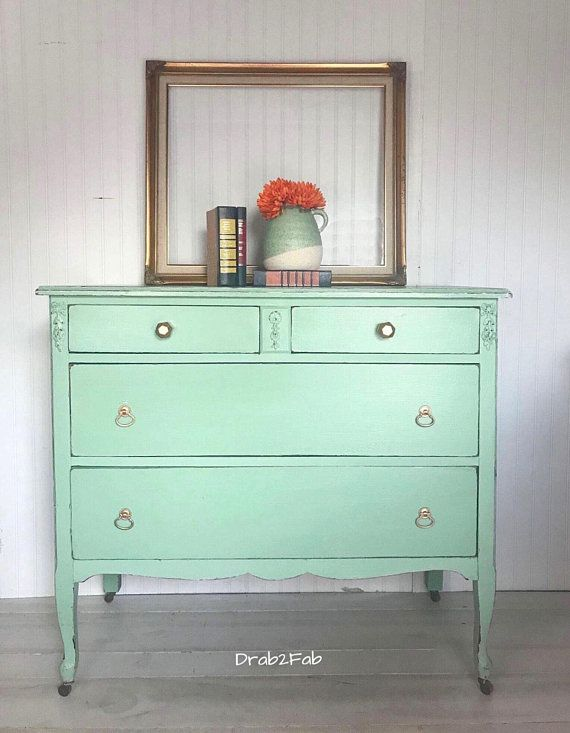 Mint Green Dresser Chest Of Drawers Changing Table Gold Hardware