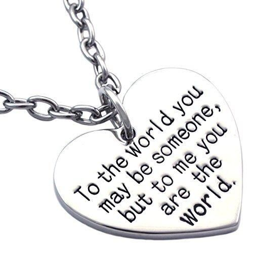 Mother's Day Gift for MOM Wife You are My World Heart Necklace