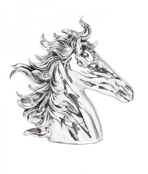 Deco Figurine Horse Head Chrome