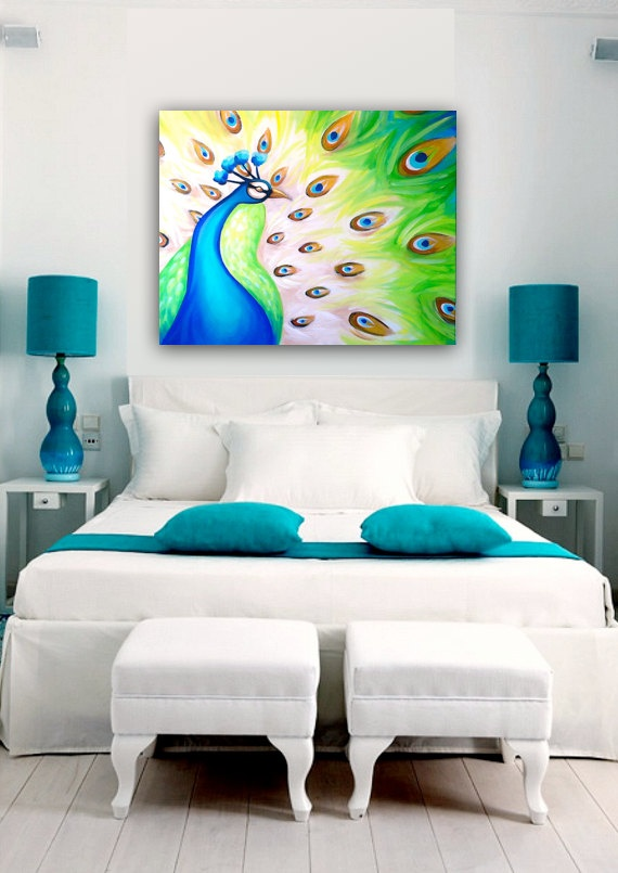 Acrylic painting peacock contemporary modern painting by for Cobalt blue bedroom ideas