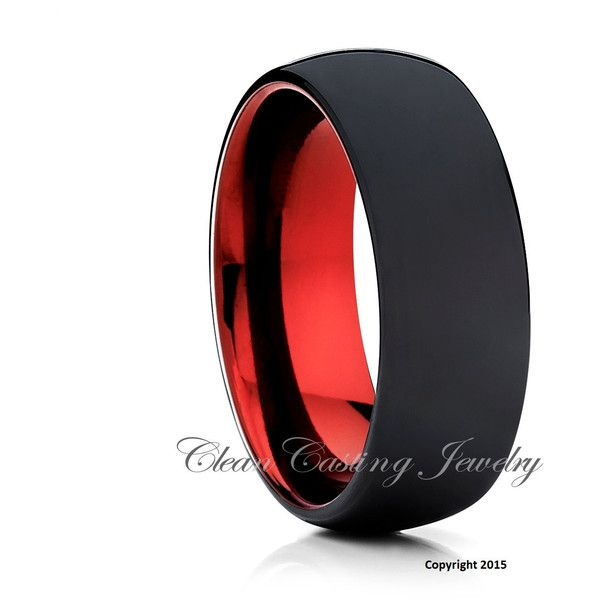 Matte Polish Black Tungsten Wedding Band,Tungsten Wedding Ring,Red... ($148) ❤ liked on Polyvore featuring men's fashion, men's jewelry, men's rings, mens band rings, mens wedding rings, mens anniversary rings, mens tungsten wedding rings and mens watches jewelry