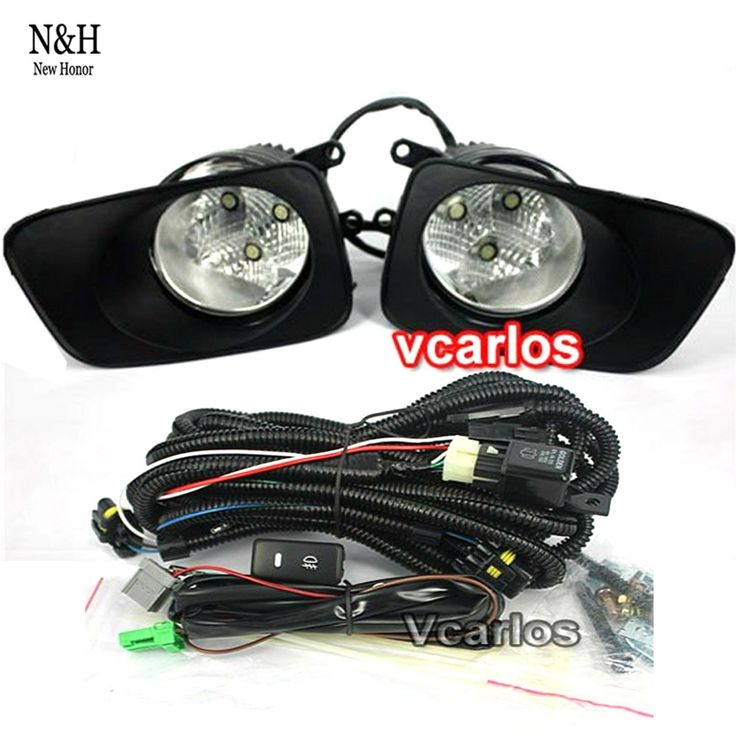 107.71$  Watch here - http://alijhh.worldwells.pw/go.php?t=32602058111 - For Toyota Corolla Fielder Corolla Axio 2007 Corolla 2010 LED DRL Fog Lights Lamp Clear Lens Pair With Wiring Kit Fog Light Set 107.71$