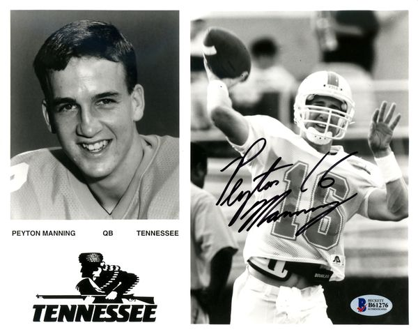 Peyton Manning Autographed 8x10 Photo Tennessee Volunteers Signed in College Beckett BAS #B61275