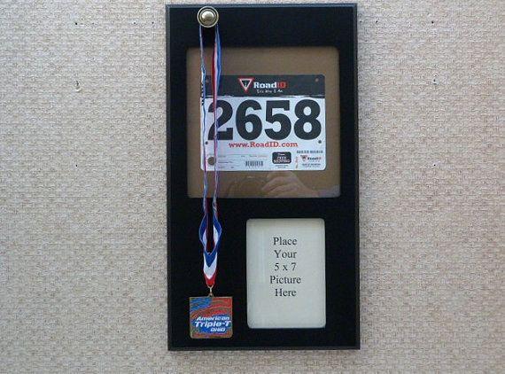 """Running Medal Holder with running bib, Black // """"ironman triathlon"""" search on etsy"""