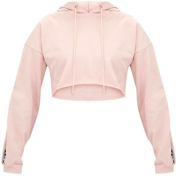 Petite Rose PLT Cropped Hoodie ($28) ❤ liked on Polyvore featuring tops, hoodies, cropped hoodie, hooded pullover, cropped hoodies, pink hoodies and pink top