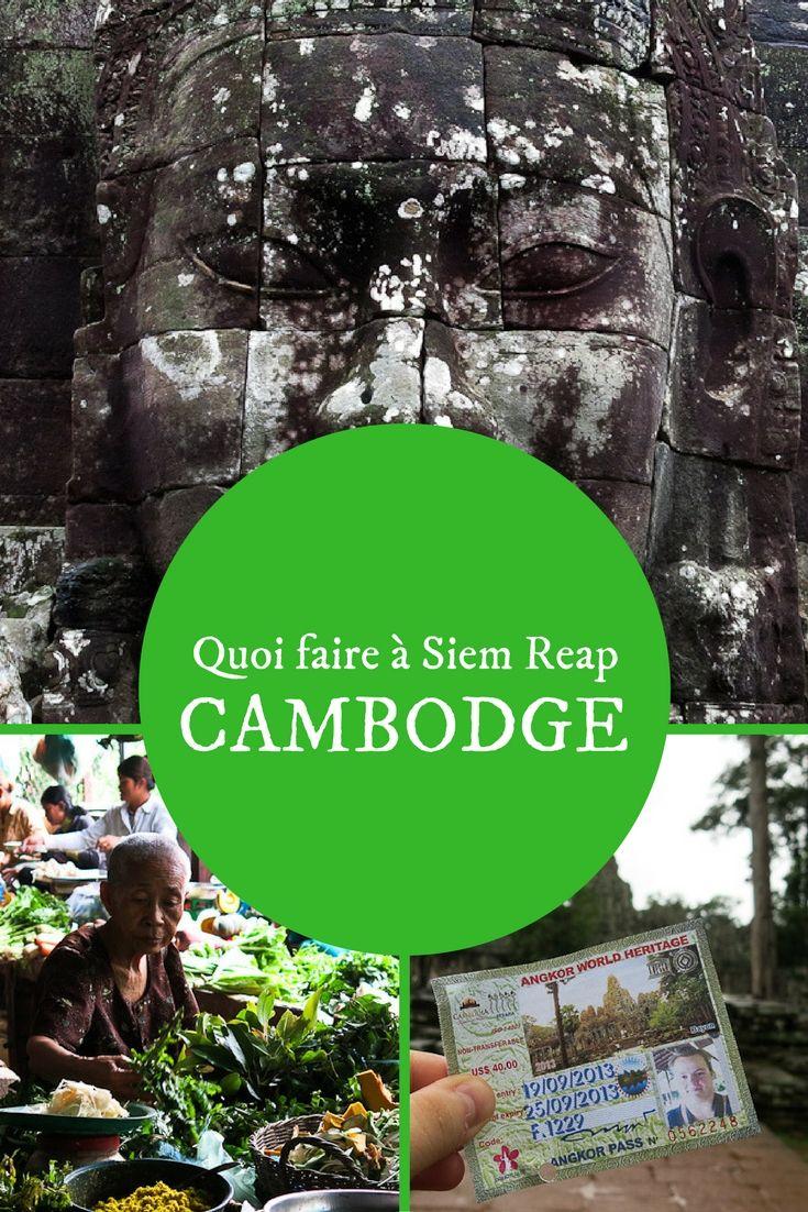 On vient à Siem Reap dans un but bien précis : voir les légendaires temples d'Angkor et il ne faudrait surtout pas négliger cet attrait du Cambodge. Votre visite variera selon le nombre de jours dont vous disposez, mais ne ratez pas dans tous les cas le lever du soleil au temple Angkor Wat, les mille et un visages du temple Bayon et les serpentins d'arbres centenaires du temple Ta Phrom. #Cambodge #Temple #Guide #Information #SiemReap #voyage