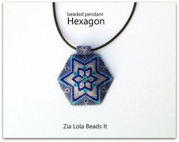 Instant download Snowflake beaded pendant by ZiaLolaBeadsIt