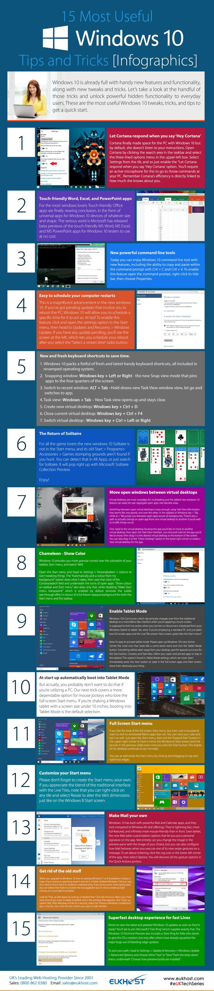 15 Most Useful #windows10 Tips and Tricks Infographics Read more: http://euk.host/ssb5aug15 Web Hosting offer: http://euk.host/ssf5aug15 #eukhost