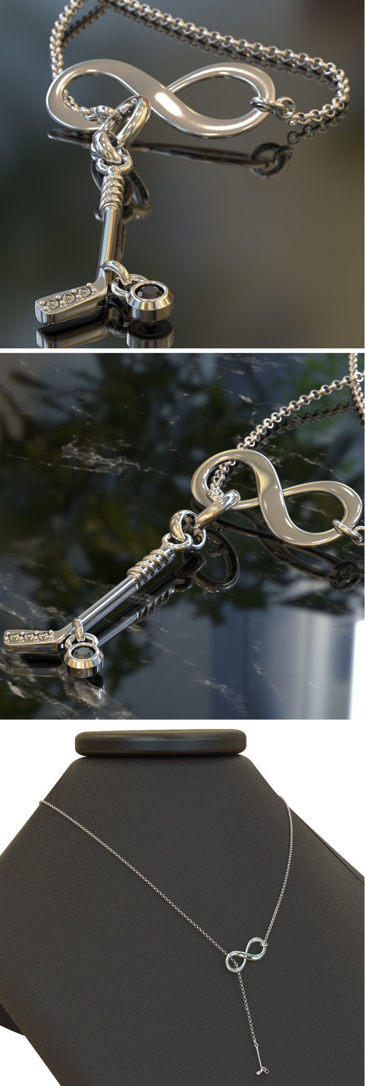 Super cute Infinity Hockey Necklace with stones on the blade and puck; makes a great gift for yourselr of a friend! Handcrafter by artisan jewelers in your choice of the highest quality Silver, Yellow Gold, or Rose Gold. Order yours here now!