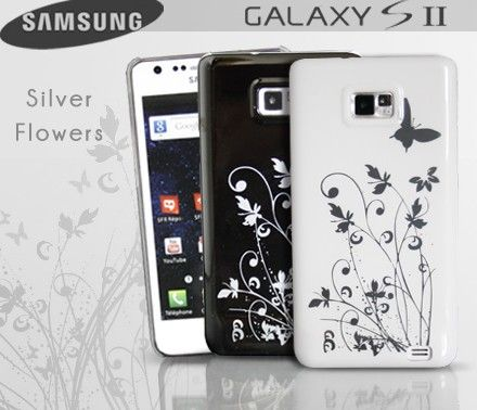 Coque Samsung galaxy S2 Silver Flowers  Magnifique coque avec son motif fleuri qui reflète la lumière. Celle-ci est disponible en deux coloris.  Elle offrira une protection parfaite à votre mobile en le protégeant des chocs et rayures. Celle-ci laisse les prises et boutons accessibles.