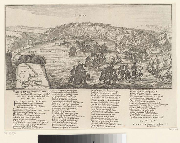 Claes Jansz. Visscher (II) | Verovering van San Salvador in Brazilië door admiraal Jacob Willekes, 1624, Claes Jansz. Visscher (II), 1624 | De verovering van San Salvador in Brazilië door admiraal Jacob Willekes voor de WIC, 10 mei 1624. Gezicht op de stad en forten aan de ingang van de baai van waaruit de Hollandse vloot beschoten wordt. Linksonder een inzet met een kaartje van het groter gebied. Onder de plaat gedrukt een tekst in 4 kolommen in het Latijn.