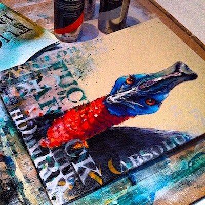 Cassowary Art - Tim Niall-Harris - Sub Urban Bird Artist
