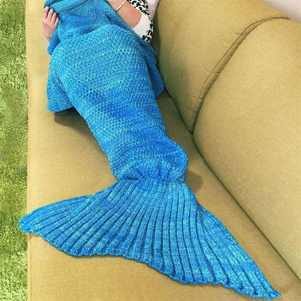 180x90cm Knitting Mermaid Tail Blanket Home Office Crylic Fibers Warm Soft Sleep Bag