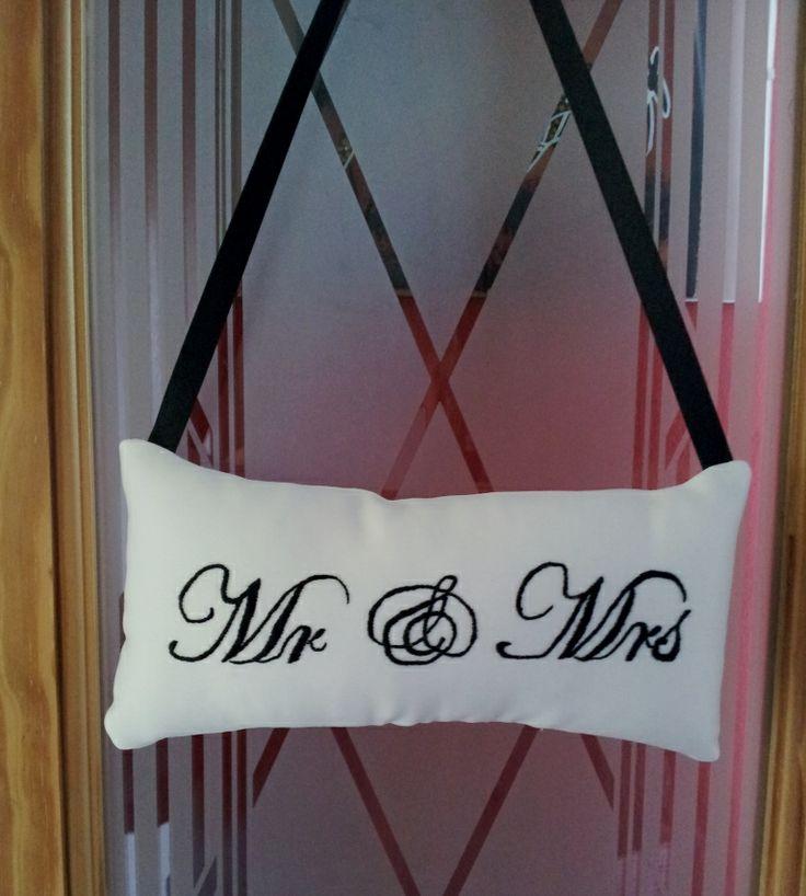Hand embroidered white silk Mr & Mrs door plaque