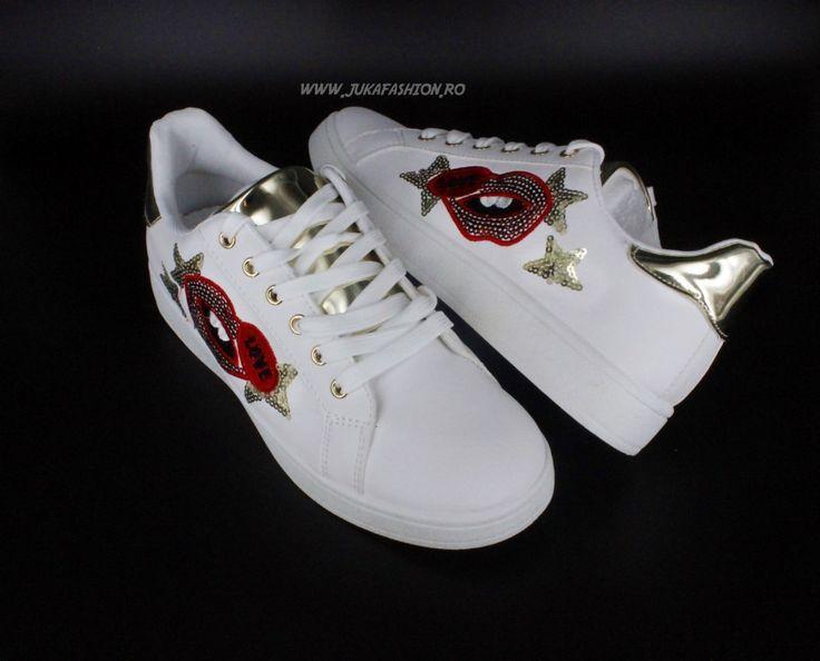 "Poze Pantof Dama Casual ""Kisses"" White by JukaFashion.ro cod B5550-3"