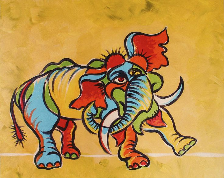 Abstract Elephant on Canvass