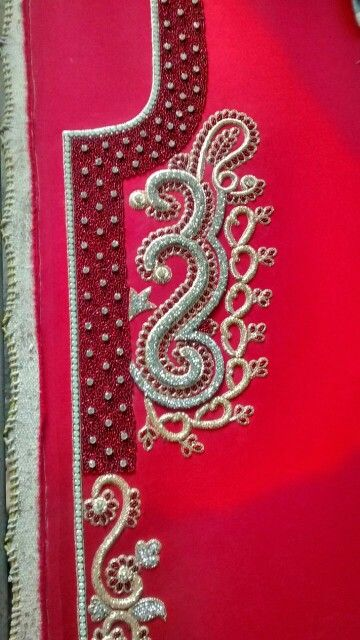 Close up picture work of the red elegant 2016 caftan