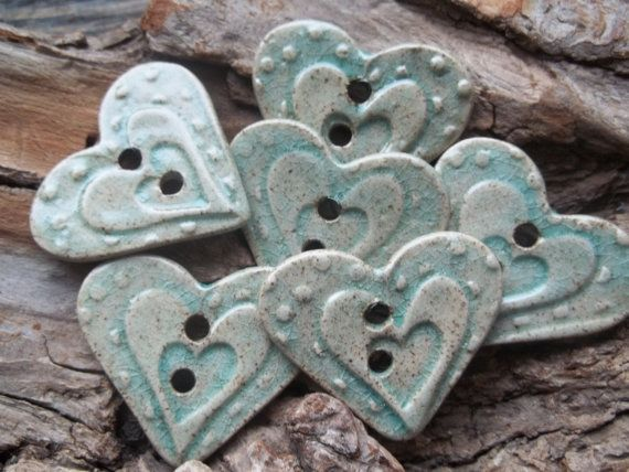 Heart shaped handmade stoneware clay button