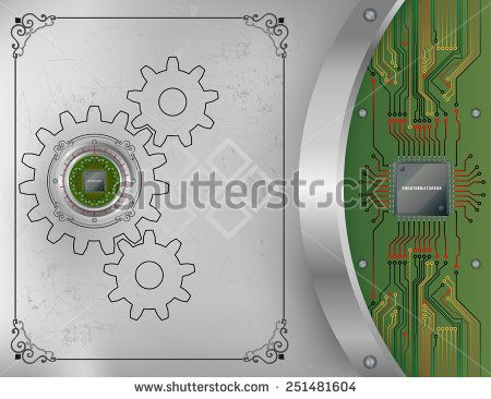 Abstract technology background; Processor Chip on metallic device nailed on scratched metallic background with screws; Ornamental arabesques frames; Chip connected to circuit board.   - stock photo