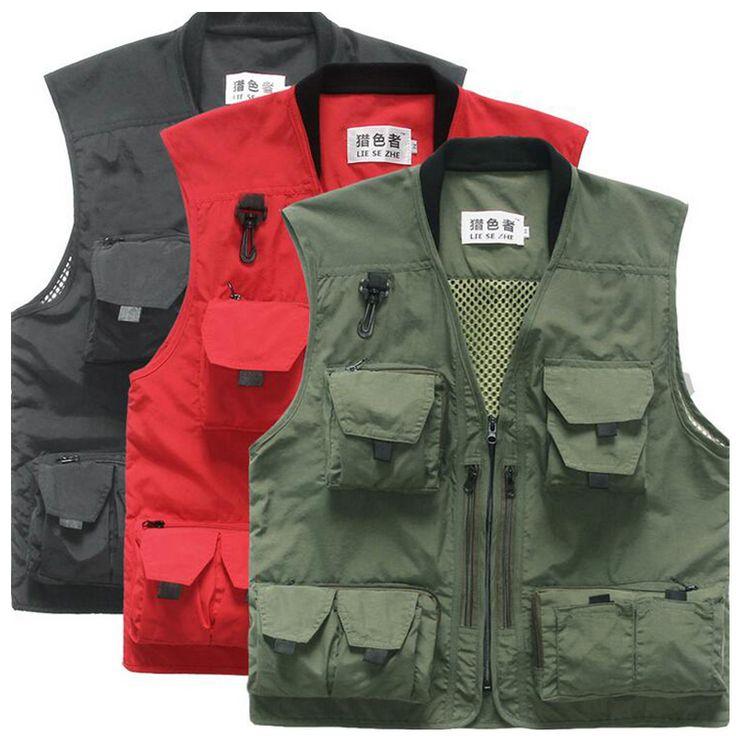 Mens Summer Autumn Multifunctional Quick-Drying Mesh Fishing Vest Jacket Loose Multi-Pocket Outdoor Photography Angler Waistcoat