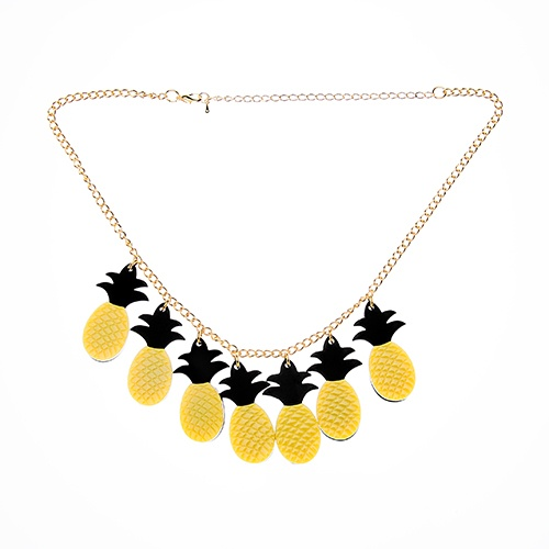 Pineapples on Parade necklace. The pineapples are on parade, boy they've got it made, even laughing at the lemonade!