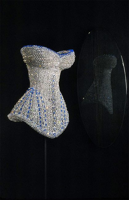 Swarovski chandelier crystal corset on a stainless steel wire frame. By German visual artist Justen Ladda who is based in NYC. His work has been showcased at the Museum of Modern Art.
