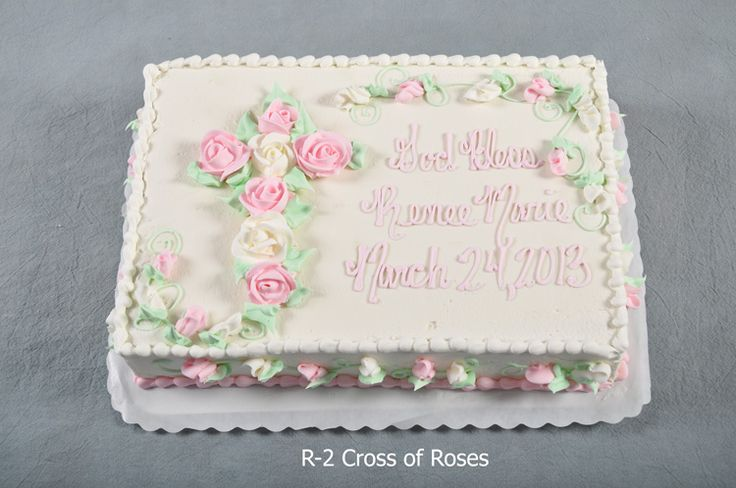 1/2 sheet baptism cake with rose cross - Google Search