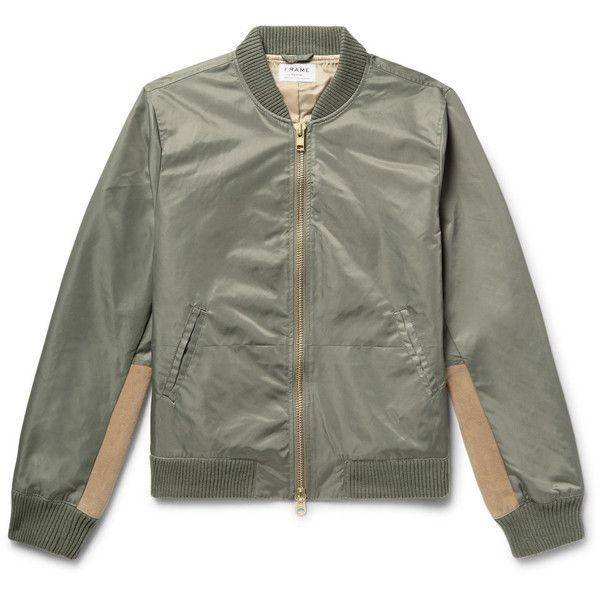 FRAME Flight Suede-Panelled Shell Bomber Jacket (21.670 RUB) ❤ liked on Polyvore featuring men's fashion, men's clothing, men's outerwear, men's jackets, mens shell jacket, mens military jacket, mens olive jacket, men's olive bomber jacket and mens zip jacket