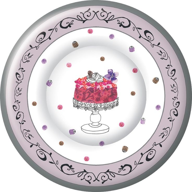 IHR Fancy Cake Birthday Celebration Designer Printed Paper Salad Dessert Plates Wholesale PK586700  sc 1 st  Pinterest : personalised paper plates and napkins - pezcame.com