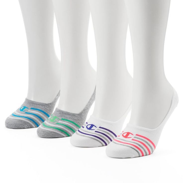 Women's Champion 4-pk. Striped No-Show Liner Socks, Size: 9-11, Multicolor