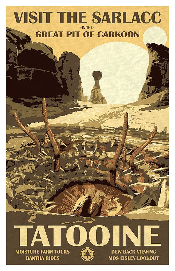 Star Wars Tatooine – Travel Poster – Visit the Sarlacc – 11×17