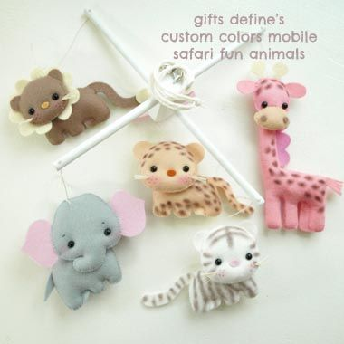 Gifts Define - Handmade custom Fun Animals baby mobile for modern home, nursery decor, shower gifts