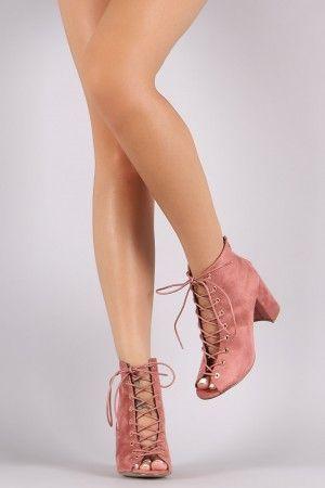 Shoe Republic LA Lace Up Chunky Heel Booties