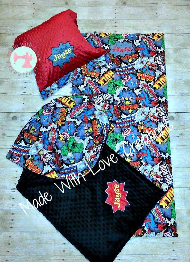 Nap Mat Cover Blanket & Pillow case Set-Nap Mats-Nap Mat Covers-Nap Mat Sets-Kinder Mat Covers-Nap Sets-Blankets-Superhero Nap Mat Set by MWLC3 on Etsy https://www.etsy.com/listing/246607049/nap-mat-cover-blanket-pillow-case-set