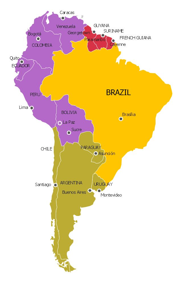 SOUTH AMERICA Political Map Y Brazil P Andean R Guianas - Brazil political map