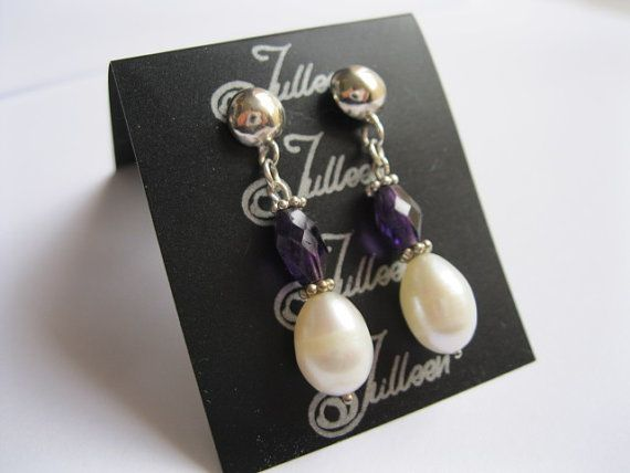 Rich Purple Amethyst and White Drop Pearl, Sterling Silver Earring