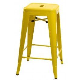 AB Kovová barová židle Paris žlutá