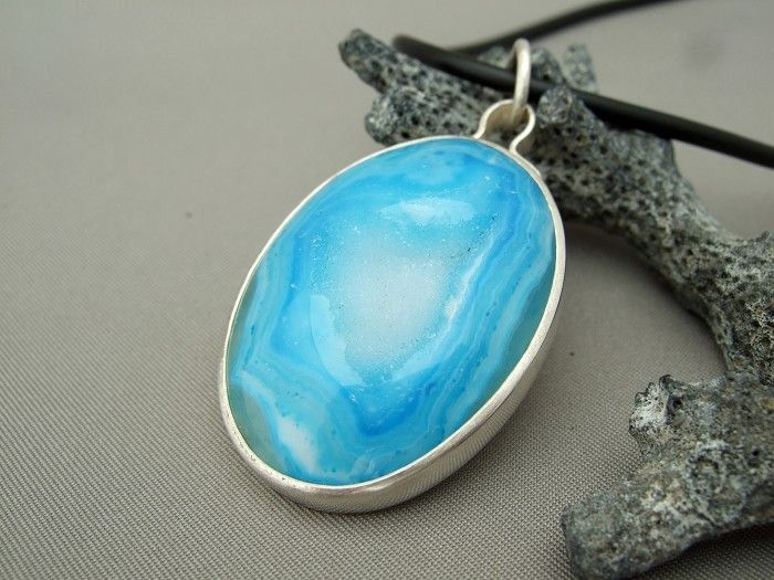 Large Silver and Sky Blue Oval Pendant, Handmade From Sterling Silver and Drusy || the silver forge, on www.madeit.com.au